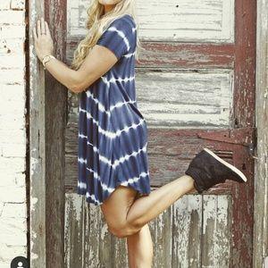 Boutique blue and white tie die dress